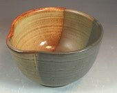 Batter Bowl in Steel Gray Shino and Shino Glaze- thrown on potter's wheel with handle and spout
