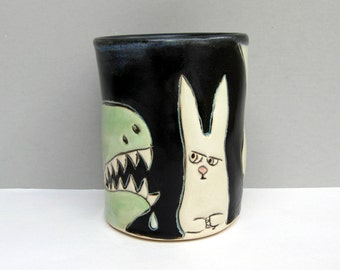 Dinosaur Tumbler with Rabbit,  Black, Green, and White  Ceramic Pottery Cup or Tumbler, Animal Pottery, Dinosaur Pottery