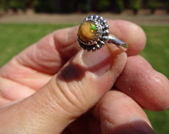 Sterling Silver Mexican Fire Opal Ring - Size 6