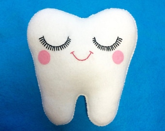 Tooth Plush - Dentist Gift - Dental Hygienist Gift - Tooth Decor - Tooth Fairy Gift  -Cute Tooth Fairy Gift - Plush Tooth