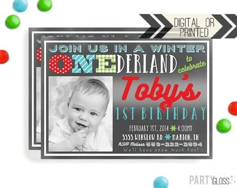 Chalkboard Onederland Invitation | Digital or Printed | Wonderland Invitation | Onederland Invite | Chalkboard Theme | Boy Chalkboard Invite