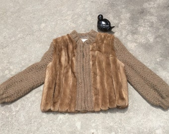 Vintage Mink Jacket - Fur Sweater Jacket - Knit Mink Sweater - Casual Elegance - Casual Fur - Mink Jacket - Hollywood Glam - Status 42 Bust
