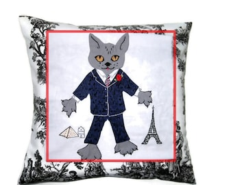 Cool Cat Cushion Cover, Wall Hanging / Applique and Embroidery, Nursery Decor/ Animal Nursery