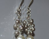 Plantinum Cluster Cream Pearl Swarovski Pair of Earrings- chandlier, wedding party , beach wedding, bridesmaid, maid of honor, gift for her