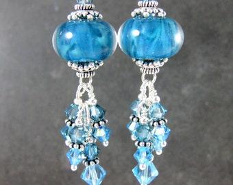 Boho Dangle Earrings, Blue Glass & Crystal Earrings, Caribbean Blue Aqua Blue Boro Lampwork Earrings, Sterling Silver Earrings Gypsy Jewelry