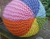 Cheerful Rainbow Ball--Large--Knitted with Plant Dyed Wool Mohair Blend Yarns