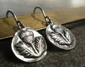 Scottish Thistle Earrings Silver Outlander Jewelry Niobium Ear Wires