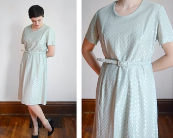 60s/70s Sea Foam Green and Silver Dress - L