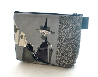 The Ghastlies Halloween Fabric Cosmetic Bag Makeup Bag Zipper Pouch Alexander Henry Smoke Gray Ghastly Witch Crone Ghastlie Gadget Pouch GRS