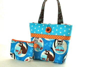 Cute Little Girls Purse Cats with Goldfish Bowls Polka Dot Mini Tote Bag and Coin Purse Set Blue Turquoise Orange Hoodie Kitten Handmade MTO