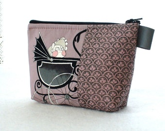 The Ghastlies Mean Baby in Pram Fabric Makeup Bag Cosmetic Bag Fabric Zipper Gadget Pouch Alexander Henry Mauve Gray Ghastlie Fabric