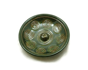 INCENSE BURNER POTTERY Celtic Spiral Handmade Ceramic
