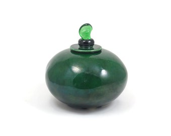 Coil built POT Handmade Pottery Ceramic Emerald Green