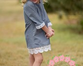 Size 4 Chambray and Lace Winter Holiday Christmas Little Girl Toddler Dress 4T