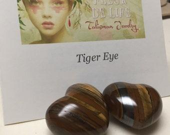 Tiger Eye Heart Stone. Gemstone Heart. Good Luck Talisman. Palm Size.  44mm. One (1)