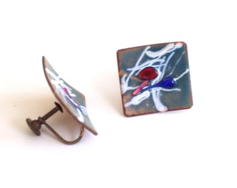 Modernist Enamel Copper Earrings, Vintage Enamel Copper Screwback Earrings, Mid Century Copper Jewelry