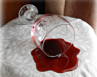 "Fake Spilled Merlot Wine 7"" Glass Home Staging Photo Prop Gag"