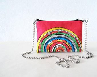 mini bag colorful printed design clutch bag fuchsia pink handbag pink small bag pen drawing clutch bag design small bag cotton canvas chain