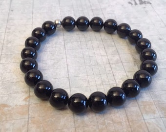 Gemstone Stacking Bracelet, Black, Stretch bracelet