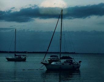 "Sailboat photography nautical print dark landscape nature seascape minimal moody blue lake - ""Moonrise"" 8 x 10"
