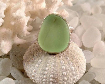 Rare Genuine Lime Green Sea Glass Sterling Silver Ring Size 7