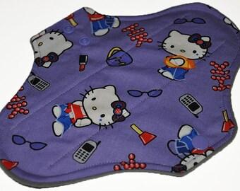 Light Hemp Core- Purple Hello Kitty Reusable Cloth Pantyliner Pad- WindPro Fleece- 8.5 Inches