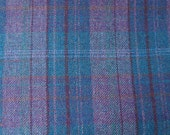 Blue - Purple Large Plaid -  Felted Wool Fabric Yard in 100% Wool Perfect for Rug Hooking, Quilting, Sewing, and Applique by Quilting Acres