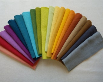 Rust - Orange - Yellow - Green - Teal - Purple - Grey - Hand Dyed and Felted Wool Fabric Perfect for Applique - Rug Hooking - Crafts