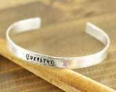Cuff Bracelet, SURVIVOR, Personalized Bracelets, Cancer Awareness, Inspirational Jewelry, Custom Bangle Bracelets