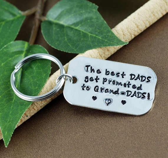 Best Dads get Promoted to Grandpas Keychain | Promoted to Grandpa Key Chain Gift | Grandpa Key Chain | Personalized Fathers Day Gift