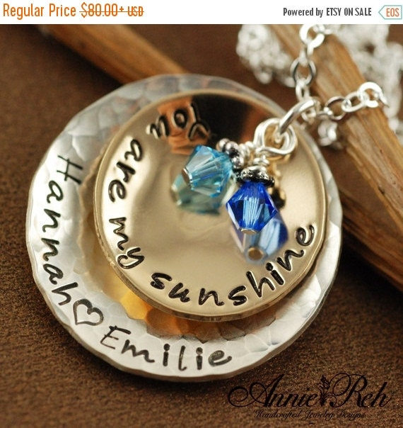 ON SALE Hand Stamped  Jewelry -  Personalized Jewelry, You Are My Sunshine Jewelry, 14kt gold filled & sterling silver