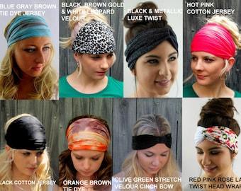 Wide Yoga Headband Choose ANY TWO Head Wrap Stretchy HeadBand Workout Band Coachella Jersey Cotton Chiffon Womens Headband 40 COLOR Options