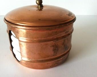 White Ceramic Coasters in Copper Container Made in Portugal ~ Vintage Benjamin Medwin Inc ~ Vintage Coasters ~ Copper Decor