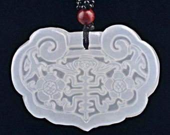 Chinese Carved White Nephrite JADE Luck Prosperity White Jade Pendant Silk 24in Cord