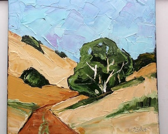 Lynne French Painting Impressionist California Plein Air Landscape Country Road Art 12x12