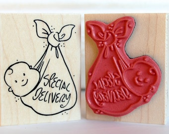 Special Delivery Baby rubber stamp from oldislandstamps
