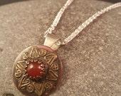 Copper, Bronze and Carnelian Pendant