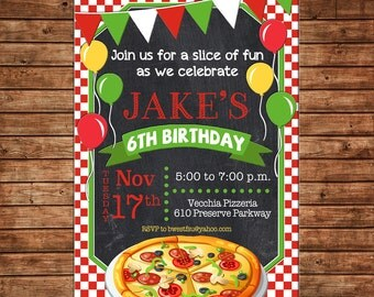 Boy or Girl Pizza Pizzeria Chalkboard Chalk Bunting Banner Balloons Check Invitation - DIGITAL FILE
