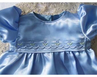 Baby Blue Satin 15 Inch Bitty Baby Party Dress Embroidered