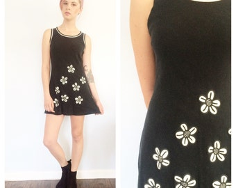 Vintage 90s Black Daisy Tank Mini Dress