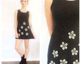 Vintage 90s Black Daisy Tank Mini Dress