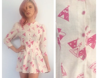 Vintage TEE PEE Babydoll Mini Dress