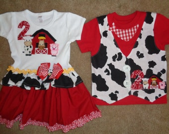 Brother and Sister Birthday on the Farm Ruffle Dress and Vest Shirt Set
