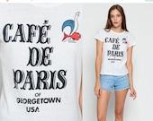 ON SALE Graphic Tee Retro TShirt CAFE De Paris Shirt Vintage Burnout T Shirt Georgetown Usa 80s Travel Tee Restaurant Print Extra Small xs