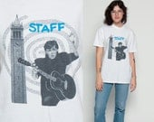 Paul McCartney Shirt PAUL IN BERKELEY 1990 World Tour Staff Band Tee Vintage White 90s Rock TShirt Beatles Concert Tour Music Large