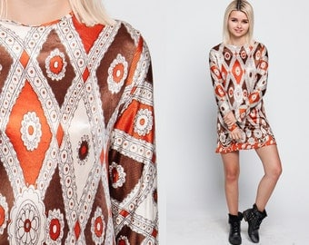 Mod Shift Dress Psychedelic 1960s Mini Floral Bohemian 60s Vintage 70s Boho Hippie Minidress Long Sleeve Brown Orange White Medium Large