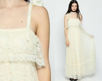 Lace Maxi Dress Bohemian 70s Maxi Prairie Cream White Boho Sundress Tiered 1970s Bohemian Wedding Empire Waist Long Sun Vintage Small Medium
