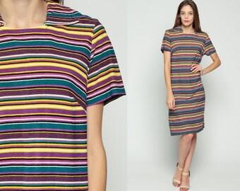 Terry Cloth Dress Striped Mod 60s Mini Gogo Vintage 70s Shift Twiggy 1970s Short Sleeve Knee Length Purple Blue Yellow Go Go Large