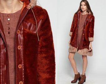 Faux Fur Coat HOODED Coat 70s Vinyl Hoodie Jacket Faux Leather 1970s Boho Hood Vegan Rust Brown Hoodie Bohemian Vintage Hipster Small