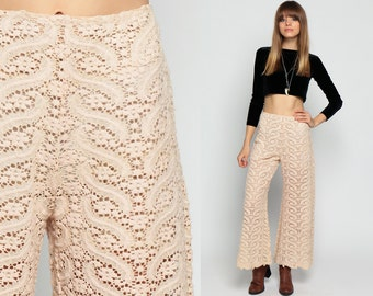 Lace Bell Bottom Pants 70s SHEER Crochet High Waisted Cream Bellbottom Wide Leg CUT OUT 1970s Boho Vintage Bohemian Trousers Small